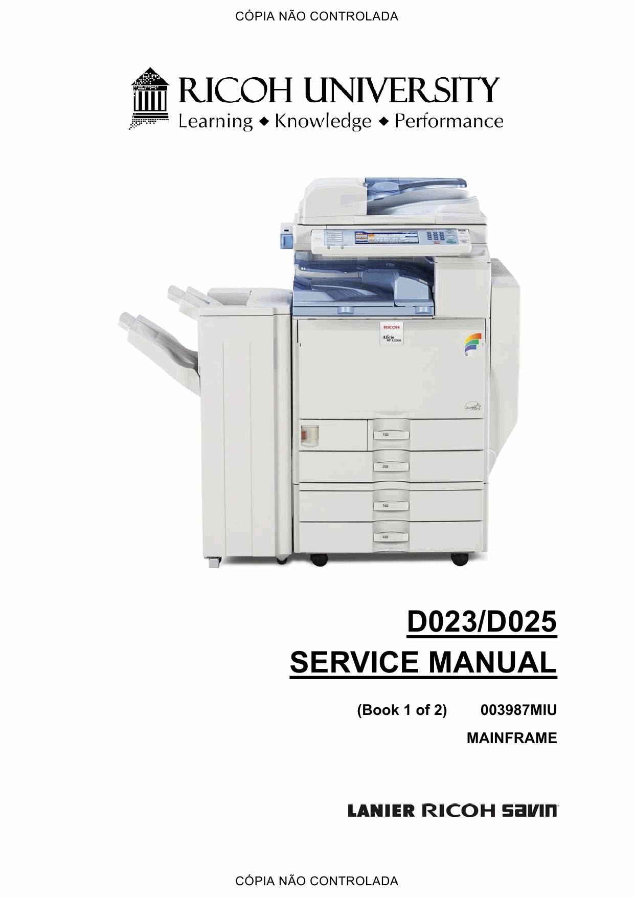RICOH Aficio MP-C2800 C3300 D023 D025 Service Manual-1